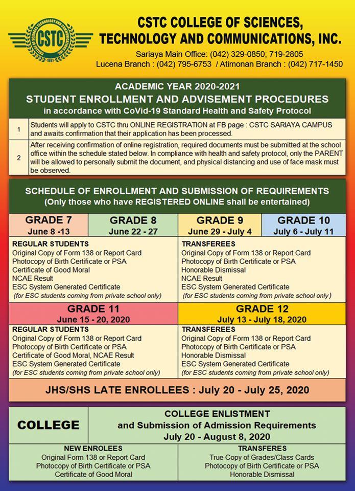 CSTC Enrollment Procedures